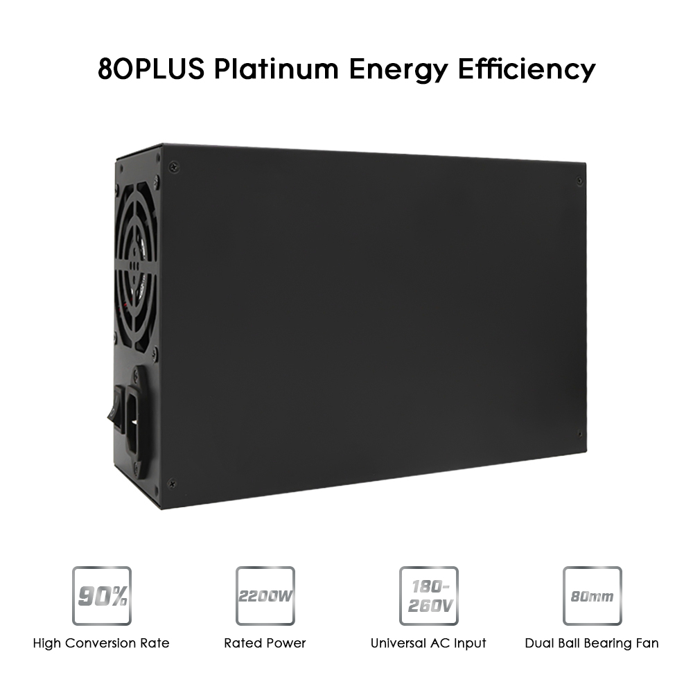 2200W Switching Power Supply 90% High Efficiency for asic antminer l3 Ethereum S9 S7 L3 Rig Mining machine Computer psu 180-260V 1800w switching power supply equipment 90 percent high efficiency power supply unit for ethereum s9 s7 l3 rig mining 180 260v