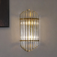 European Luxury Gold Sconce Nordic Crystal Bedroom Decorative Wall Lights Modern Stairs Bathroom Light