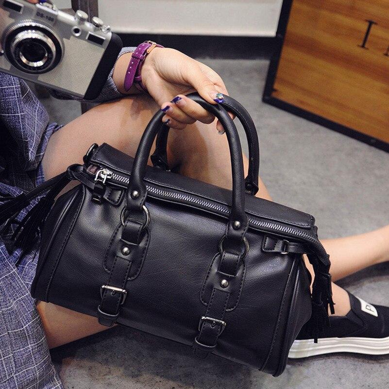 ФОТО European and American Style Tassel Shoulder Bag For Women Messenger Bags Casual Tote Bag Women's Leather Handbags Women Bag