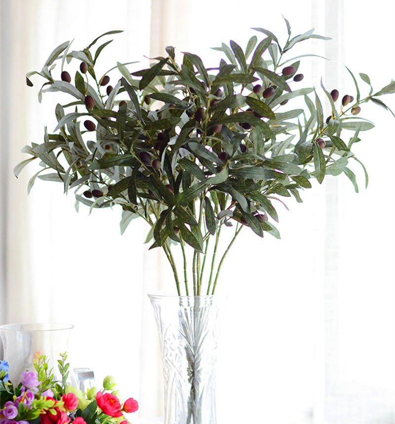 Artificial European Olive Tree Branches with olive fruit leaves for home hotel wedding DIY decoration flowers plants wreath leaf