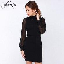 Yhotmeng Sexy dress women backless pure color package hip dress voile splicing big size dress lantern sleeve knee-length dress