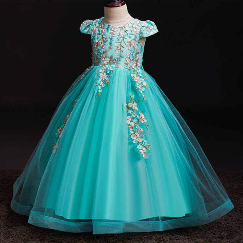 2019 high quality   flower     girl   wedding evening   girl   Long   dresses   first communion princess   dress   baby costume ball gown vestido