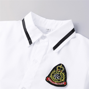Image 5 - Korean Schoolgirl uniform White Top Black Skirt with Badge and Tie for Japanese Sailor Uniforms Student Cosplay Costume Suit