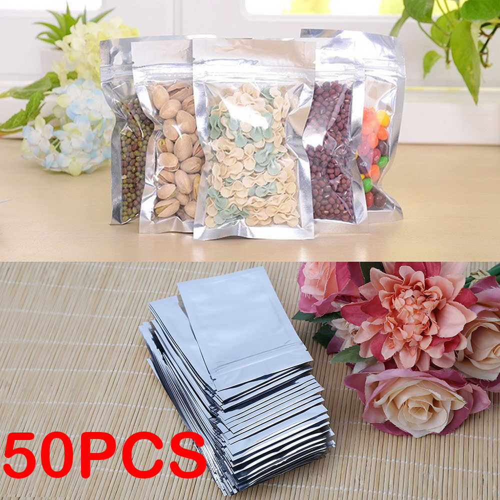 50Pcs Ziplock Zip Lock bags Aluminum Foil Mylar Food&Jewelry Storage Packaging Reclosable reusable Poly Moistureproof Zip Bag