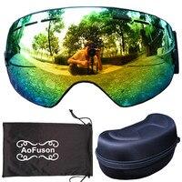 AoFuson Brand Professional Ski Goggles Double Lens Anti Fog UV400 Big Spherical Ski Glasses Snow Skiing