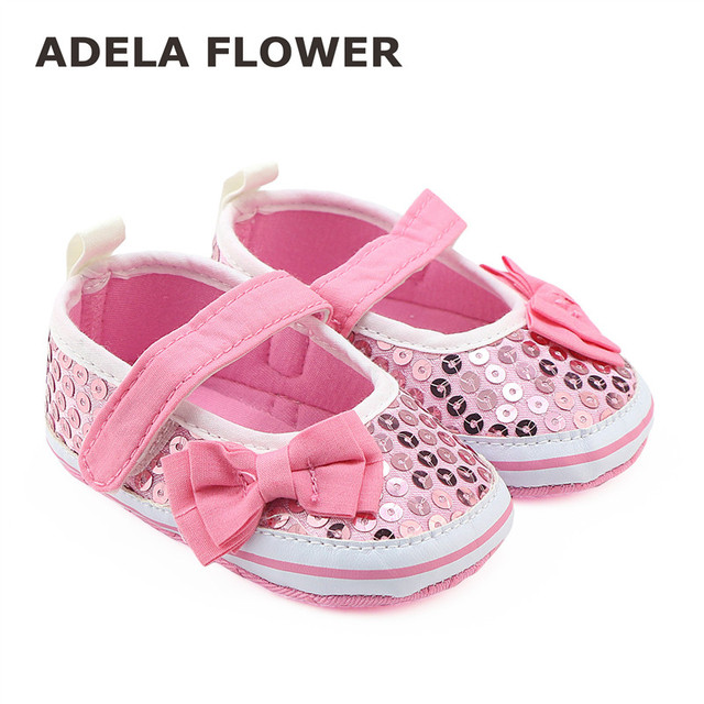 f663ffa5fbe 2016 New Kids Girls Pink Glitter Party Fancy Dress Shoes Pumps Lovely  Sequins Bow Baby Girl