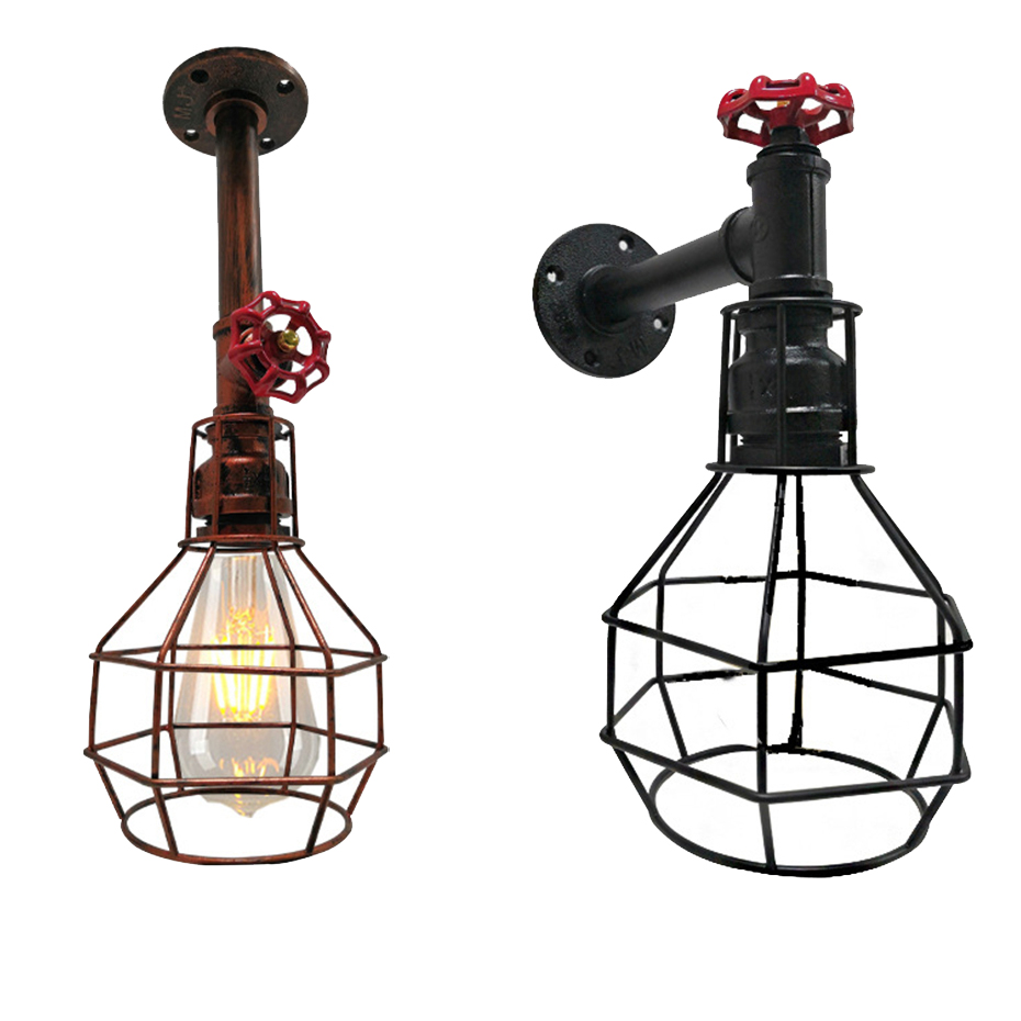 Vintage Loft Water Pipe E27 Wall Lamp  Creative Birdcage Industrial Wind Wall Lights  Luminaire for Warehouse Restaurant CafeVintage Loft Water Pipe E27 Wall Lamp  Creative Birdcage Industrial Wind Wall Lights  Luminaire for Warehouse Restaurant Cafe