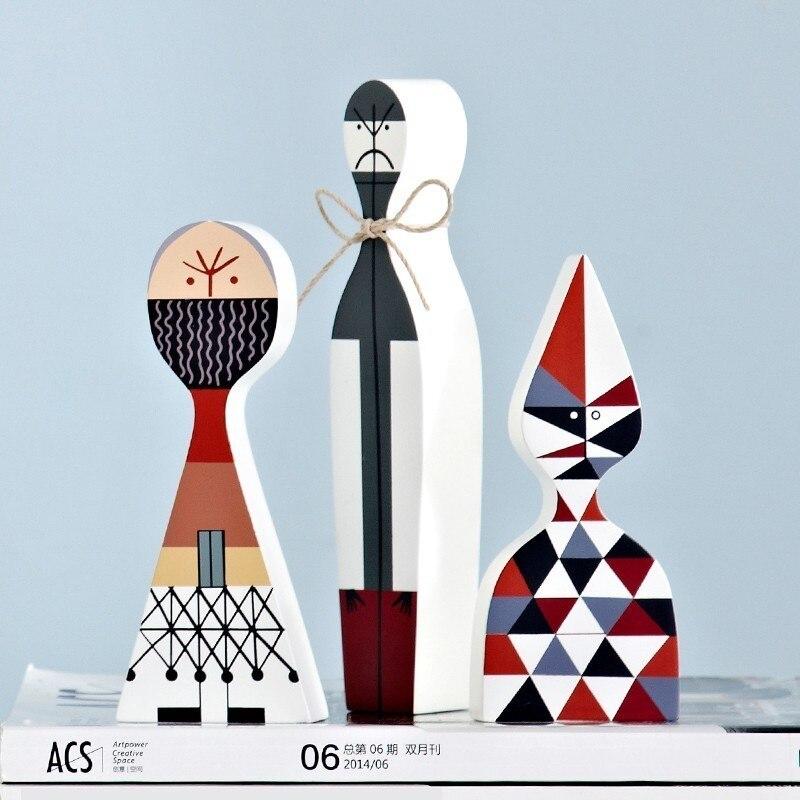 Nuevo moderno abstracto de madera artesanía decoraciones niños regalo bebé juguetes hogar decorativo Simple modelo 3 piezas figuras de Artesanato-in Figuras y miniaturas from Hogar y Mascotas    3