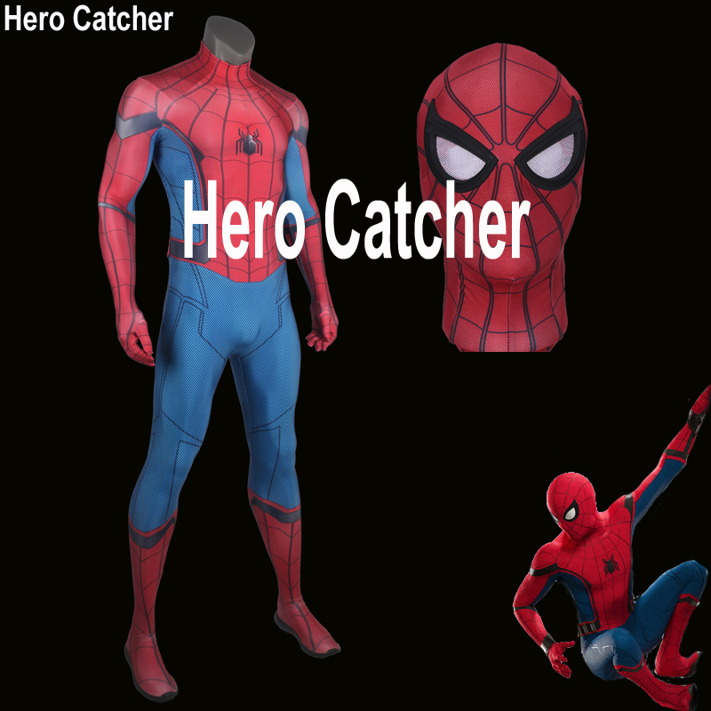 Hero Catcher High Quality New Homecoming Spiderman Cosplay Costume Tom Spiderman Suit Homecoming Spiderman Costume Custom Made