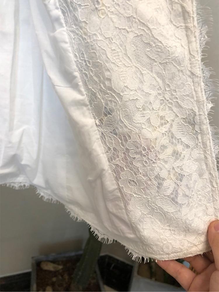 Femme Slim Tempérament Blazers Fleur Dentelle Manteaux Longues Mode Costume Blazer Brodé Vestes À Petit Croix Blanc Manches Revers HBEOAw