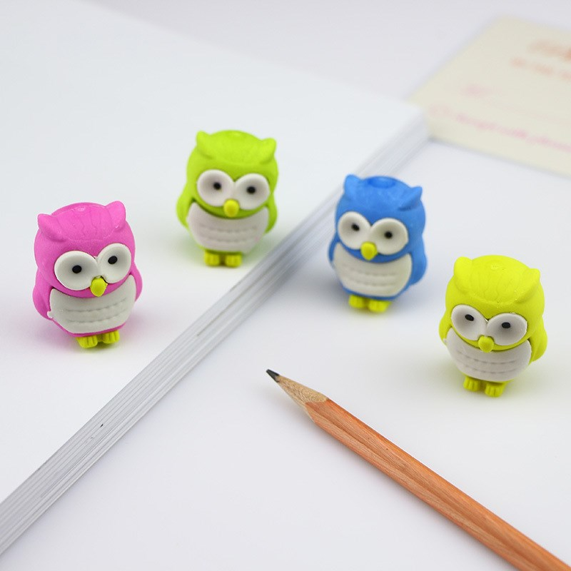 1Pc Novelty Owl Shape Rubber Eraser Creative Kawaii Stationery Mini Erasers Office School Supplies Gift For Kids Random Color