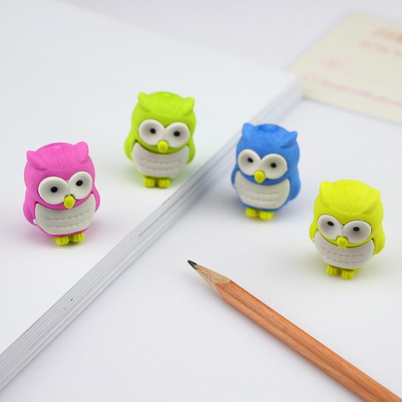 1Pc Novelty Owl Shape Rubber Eraser Creative Kawaii Stationery Mini Erasers Office School Supplies Gift For Kids Random Color