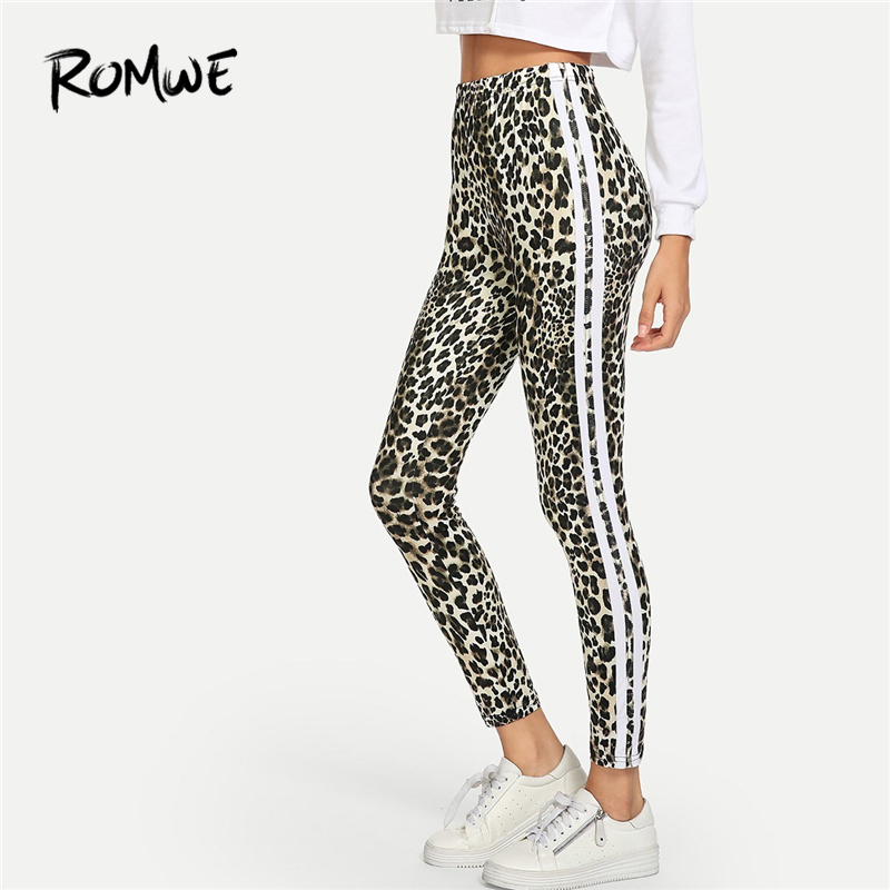 Romwe Sport Leopard Print Striped Tape Side Women Exercise Running Tights  Gym Compression Skinny Leggings Sports Training Pants -in Running Tights  from ... c31ab6154253