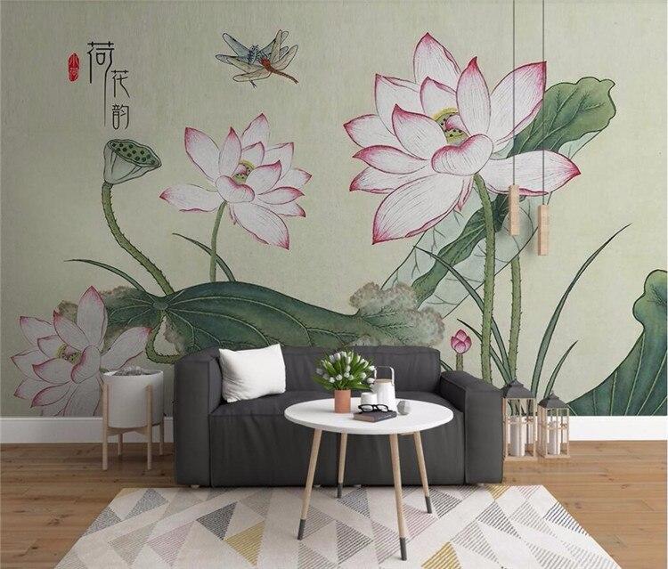 Custom wallpaper modern small fresh lotus flower hand painted TV background wall home decoration murals 3d wallpaper