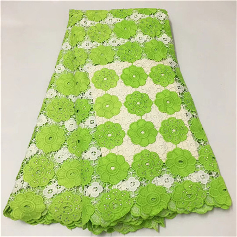 2019 New Design African Lace Fabric High Quality Guipure Cord Lace Fabric With Stones french tulle