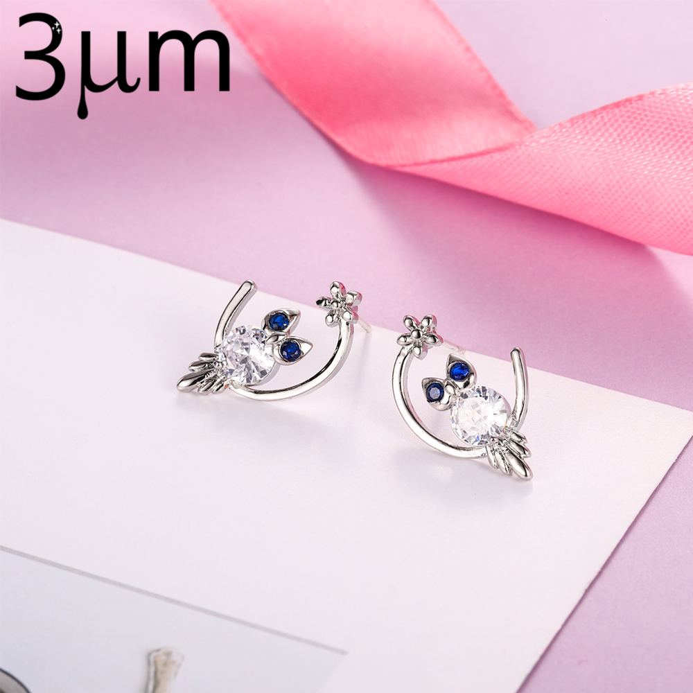 3UMeter New Aarrived Earring Studs Silver Arrival Natural Stone Earrings Zircon Cubi