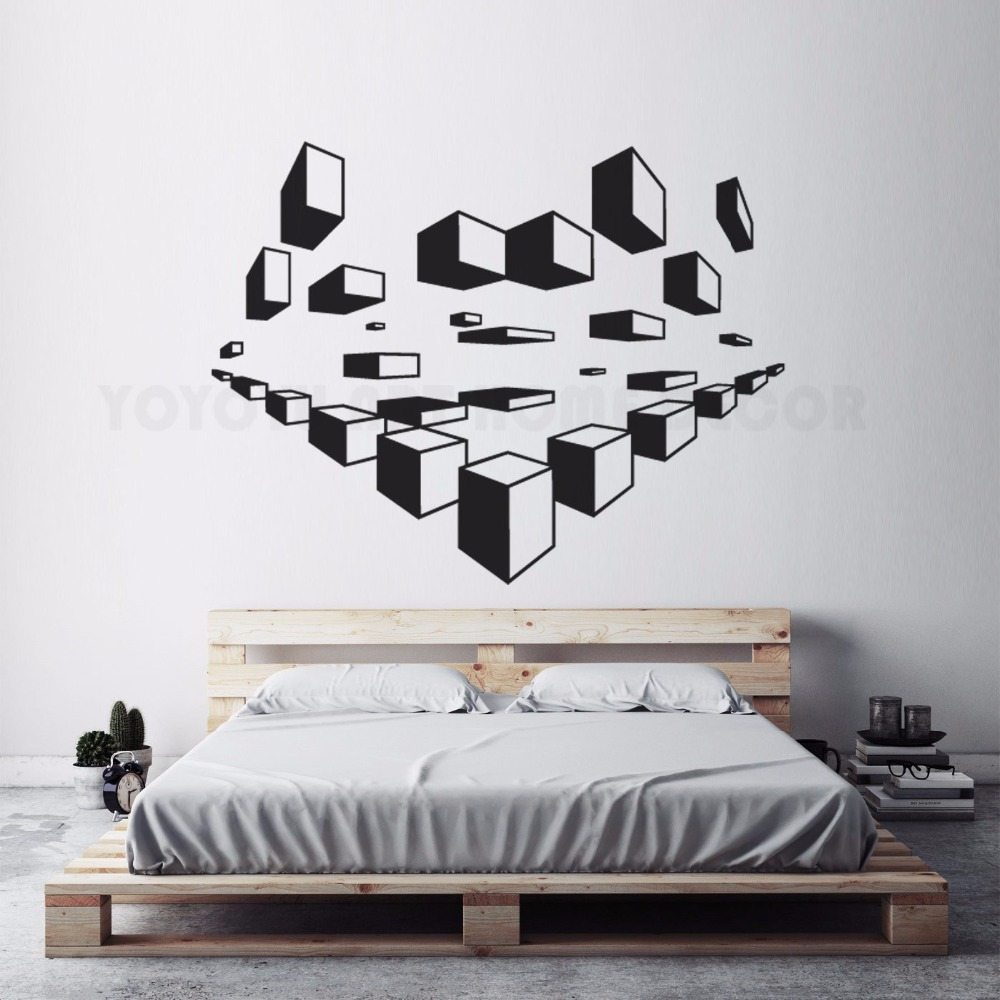 US $4 68 OFF Geometric Wall Art Decals Modern Design Wallpaper Home Bedroom Decoration 3D Wall Sticker Geometric Pattern Wall Mural AY1495 Wall