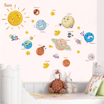 Solar System Cartoon wall stickers for kids rooms Stars outer space planets Earth Sun Saturn Mars poster Mural school decor earth system history