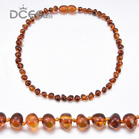 DCEE Brand Cognac ColorBaby Chew Necklace Certified Natural Baltic Ambar Baby Teething Necklace Jewelry For Infant