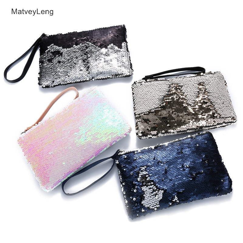 New Zipper Cosmetic Bag Fashion Mermaid Double Sided Color