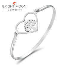 Bright Moon Vintage Silver Color Charm Bracelet with Tree of life Heart Stainless Steel Bracelets Bangles Jewelry Gift