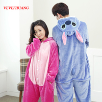 VEVEFHUANG Flannel Stitch Onesie Unisex Adult Blue And Pink Stitch Pajamas Cosplay Costume Animal Pyjamas For