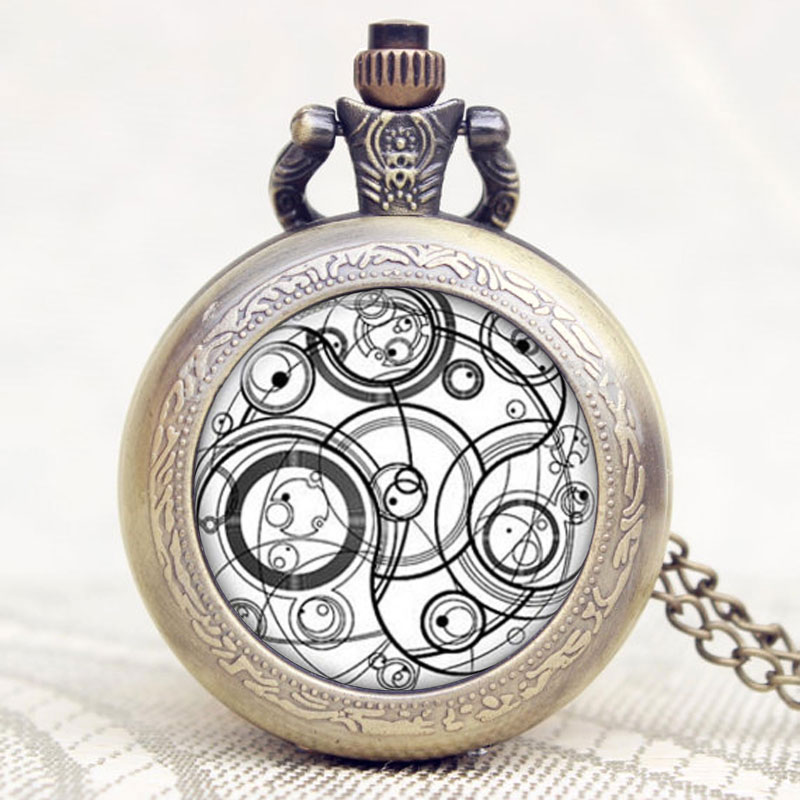 Doctor Who Series Glass Dome Bronze Quartz Pendant Pocket Watch With Necklace Chain Best Gift retro doctor who time lord seal quartz pocket watch with dr who symbols glass dome pendant necklace chain box dad top gifts set