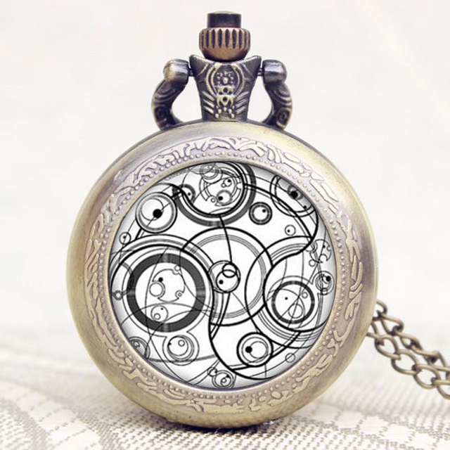 Doctor Who Series Glass Dome Bronze Quartz Pendant Pocket Watch With Necklace Ch