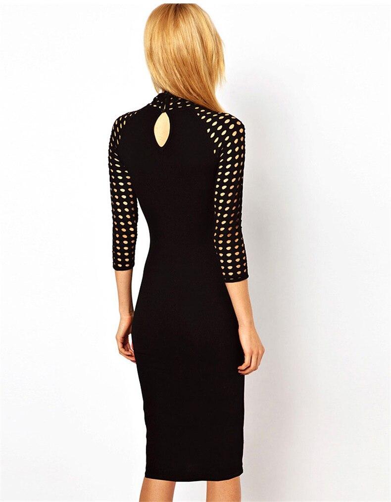 Women 2017 Sexy Turtle High Neck Elegant Hollow Out Dresses Midi ...