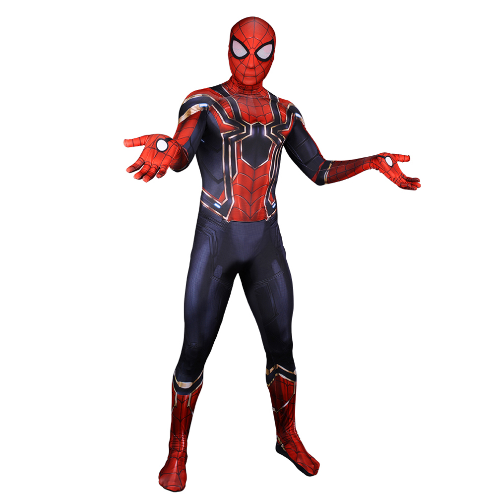 2018 Avengers Infinity War Iron Spiderman Cosplay Costume Homecoming Spider-Man 3D Printed Spandex Lycra Spider Man Zentai Suit