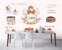 Custom wallpaper mural retro European catering cake background wall