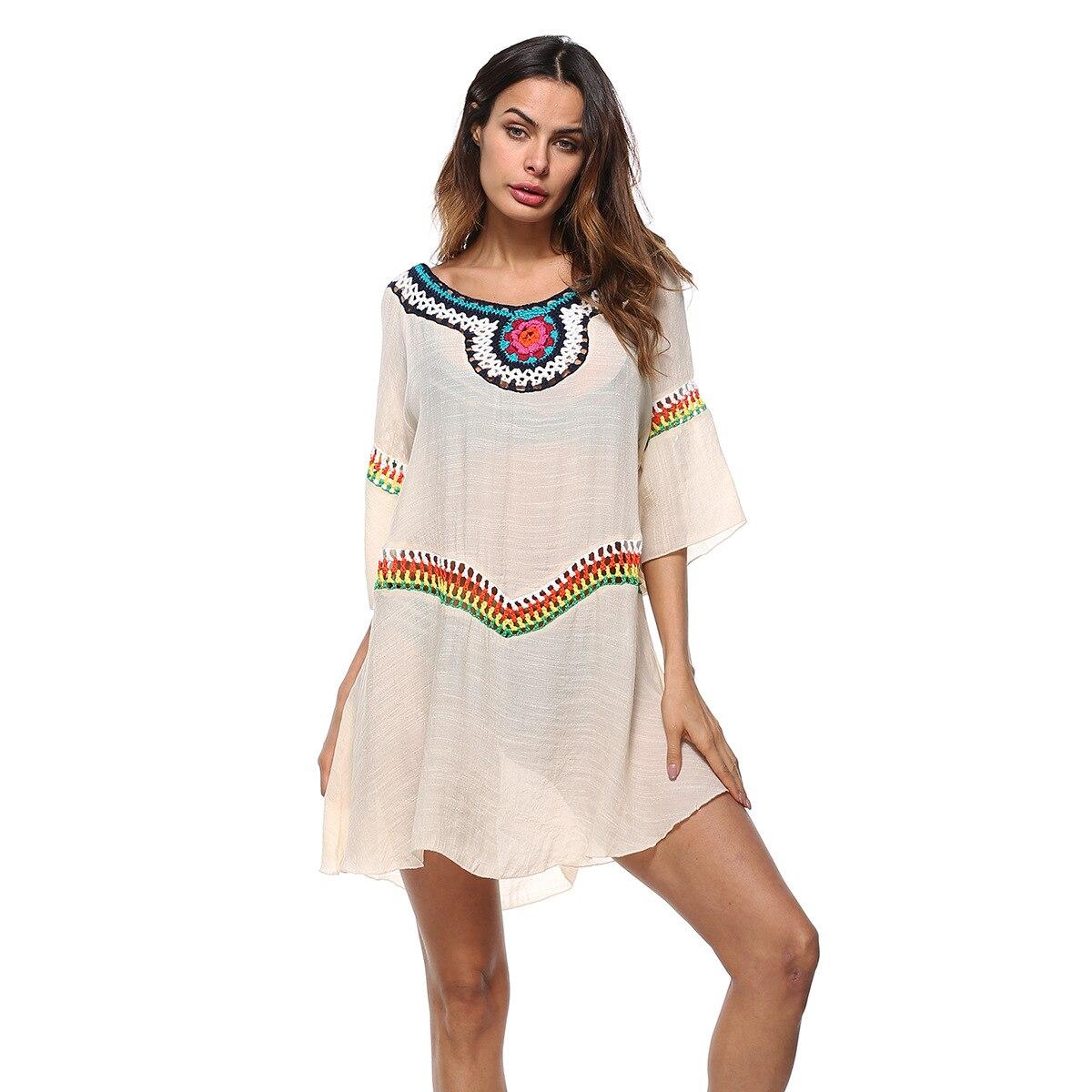 outdoor sunscreen dress spring mini top women hand crochet neck round bamboo cotton soft summer blouse dresses