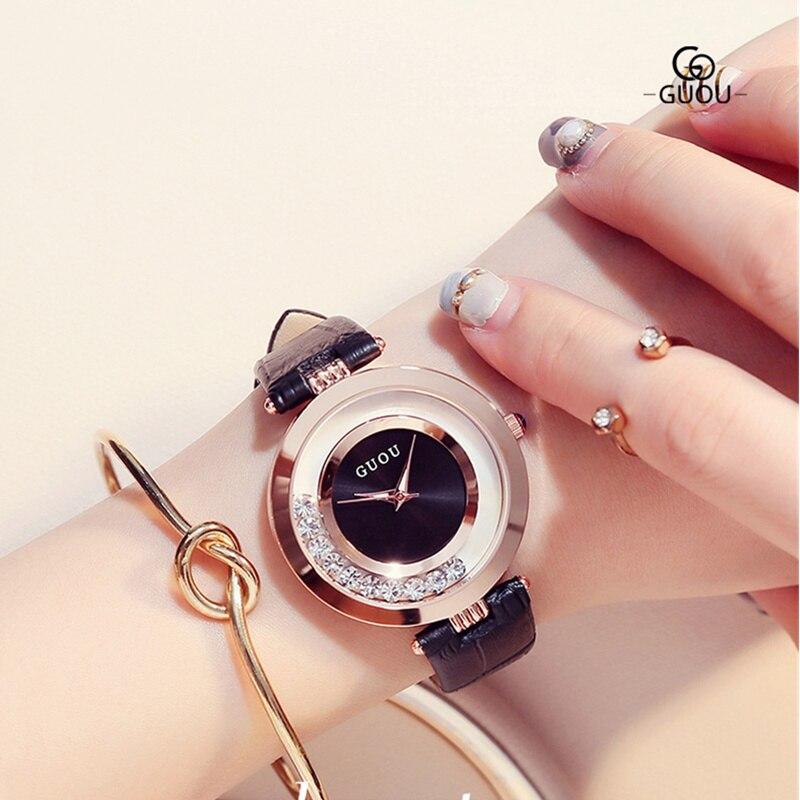 GUOU reloj lujo Glitter Diamond Rhinestone reloj mujeres relojes de moda exquisito reloj de cuero relogio feminino