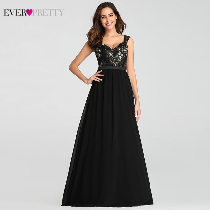 Elegant Black   Bridesmaid     Dresses   A-Line V-Neck Spaghetti Straps Chiffon Women Wedding Party   Dresses   Vestidos Para Boda Mujer