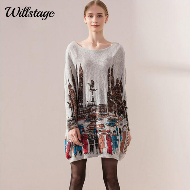 Willstage 2018 Autumn Casual Long Women Sweaters Batwing Sleeve Knitted  Tops Print Oversize Pullovers Fashion big Pregnant dress b66f71f2c2f6