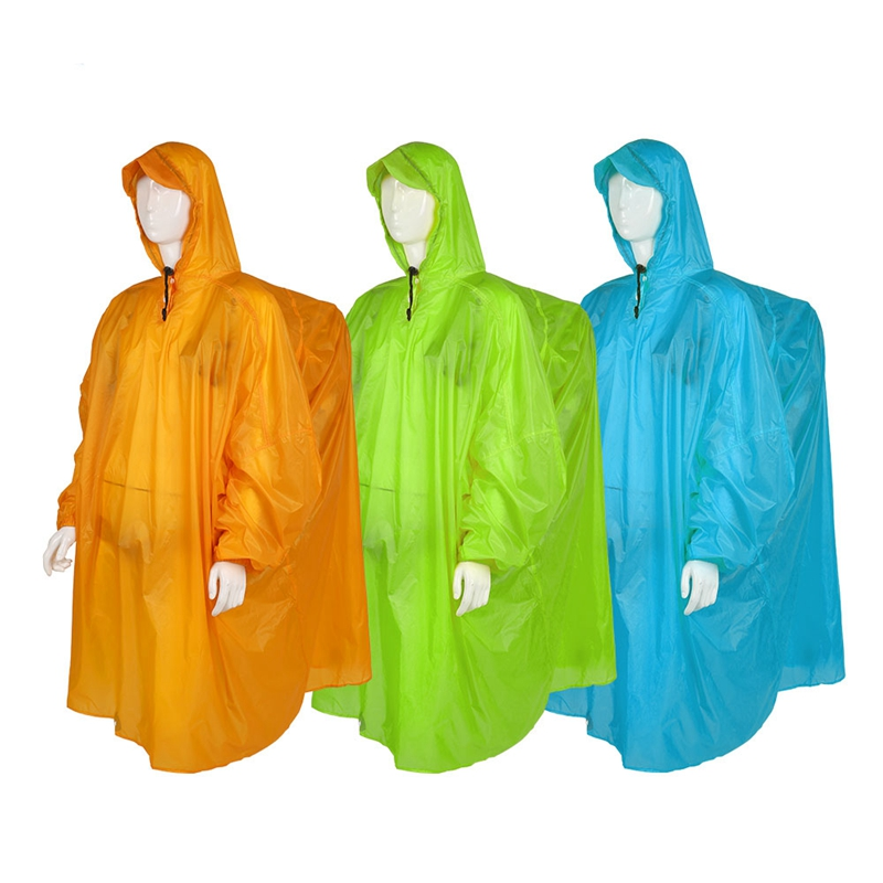 Outdoor Lightweight 15D Silicone Raincoat Multi Functional Poncho Rain Waterproof Cover For Camping Hiking Travel