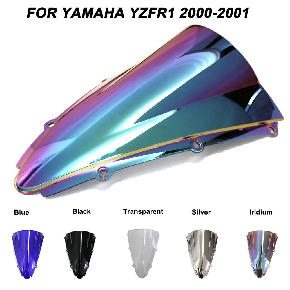 Motorcycle Motorbike Windshield Double Bubble Windscreen Wind Deflectors For Yamaha YZFR1 YZF R1 Yzf R1 2000-2001 2000 2001
