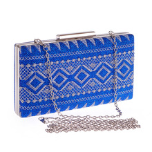 2018 New Fashion Women's Evening Party Clutch Handbag Embroidered Pattern Pouch Bag Metal Chain Shoulder Bag Crossbody Messenger color splicing geometric pattern metal crossbody bag