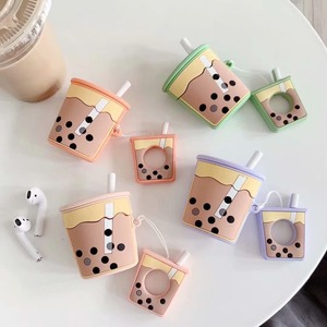 Image 5 - Wireless Bluetooth Earphone Case silicone soft bubble tea milk cream tea pattern case for airpods 1/2 BIA124