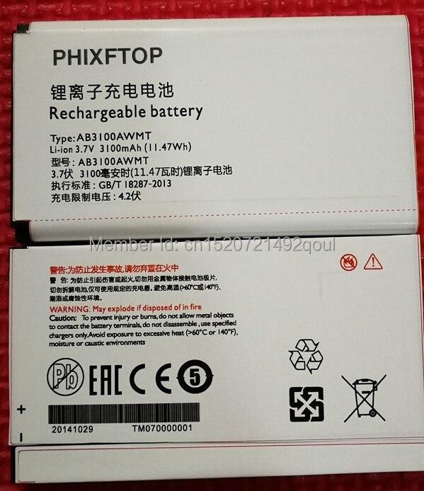 PHIXFTOP d'origine 3100 mAh batterie Pour Xenium E180 E181 E560 portable AB3100AWMT pour PHILIPS CTE181 CTE180 CTE560 Mobile téléphone