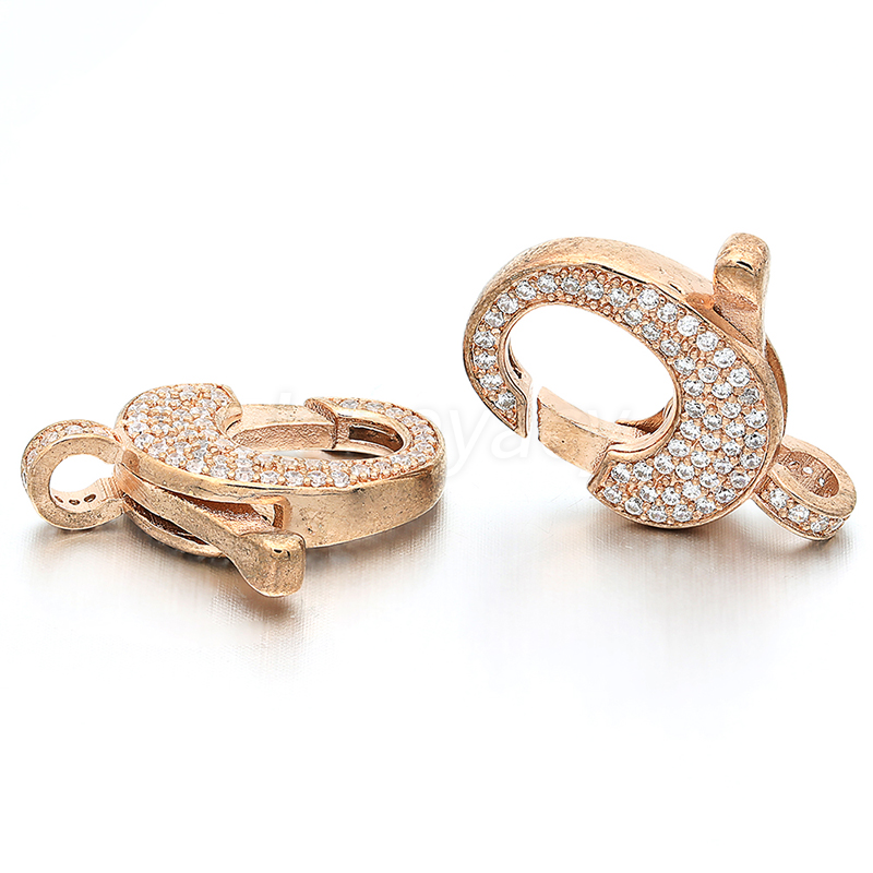 High Quality Brass Cubic Zirconia Accessories Connector Lobster Clasps DIY Necklace Pendant Accessories Jewelry Making L22 W17mm in Jewelry Findings Components from Jewelry Accessories