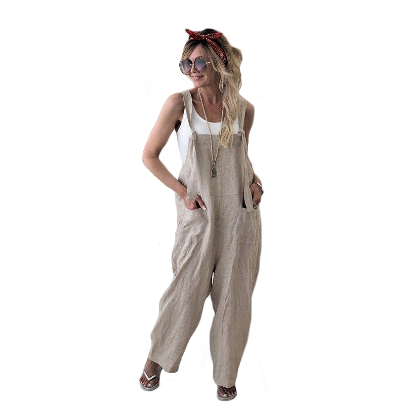 Women Casual Loose Pockets Dungaree Baggy Jumpsuits Fashion Overalls Solid Palin Straps Sleeveless Bandage Harem Pants Outfits