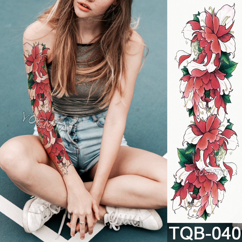 New 1 Piece Temporary Tattoo Sticker Red Peony Flower Pattern Full Flower Tattoo With Arm Body Art Big Large Fake Tattoo Sticker