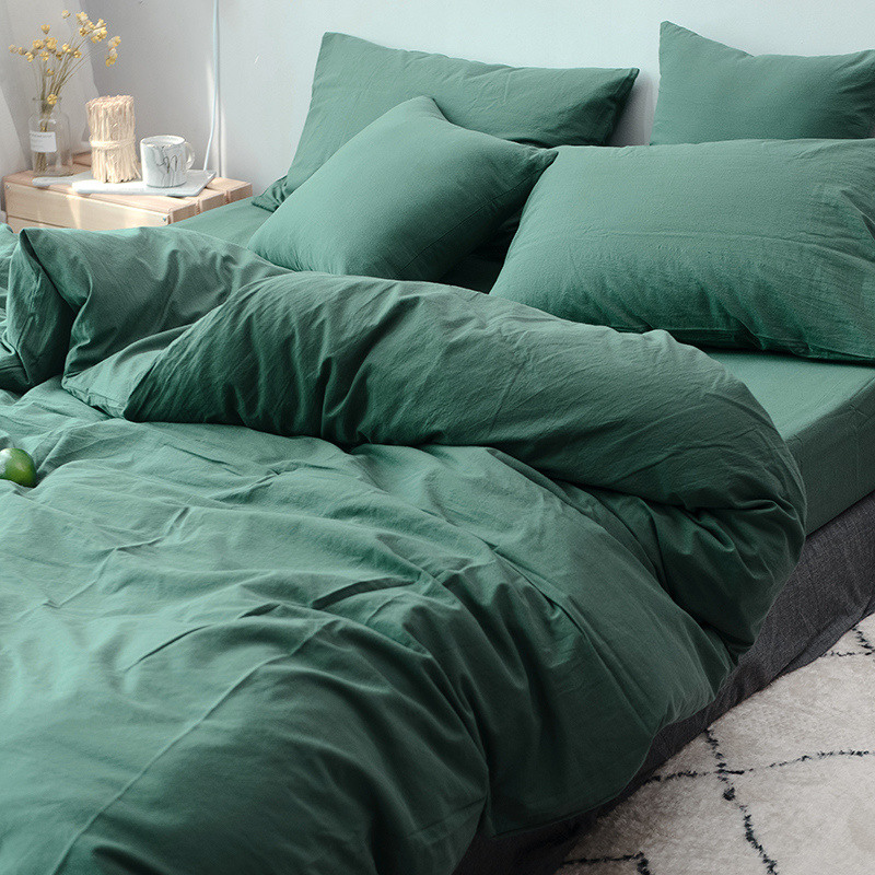 dark green Wash cotton 3pcs  duvet cover sets(1pcs duvet cover+2pcs pillowcase)/100% cotton 3pcs  bedding sets-in Bedding Sets from Home & Garden    1