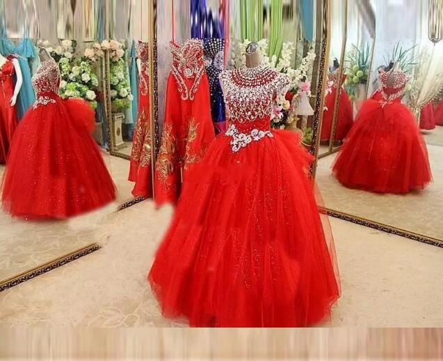 2017 golden globe Girl Pageant Dresses Cap Sleeve Beads Crystals Pageant Dresses Evening For Girls Tulle little girls Red Flower globe panther golden brown fur