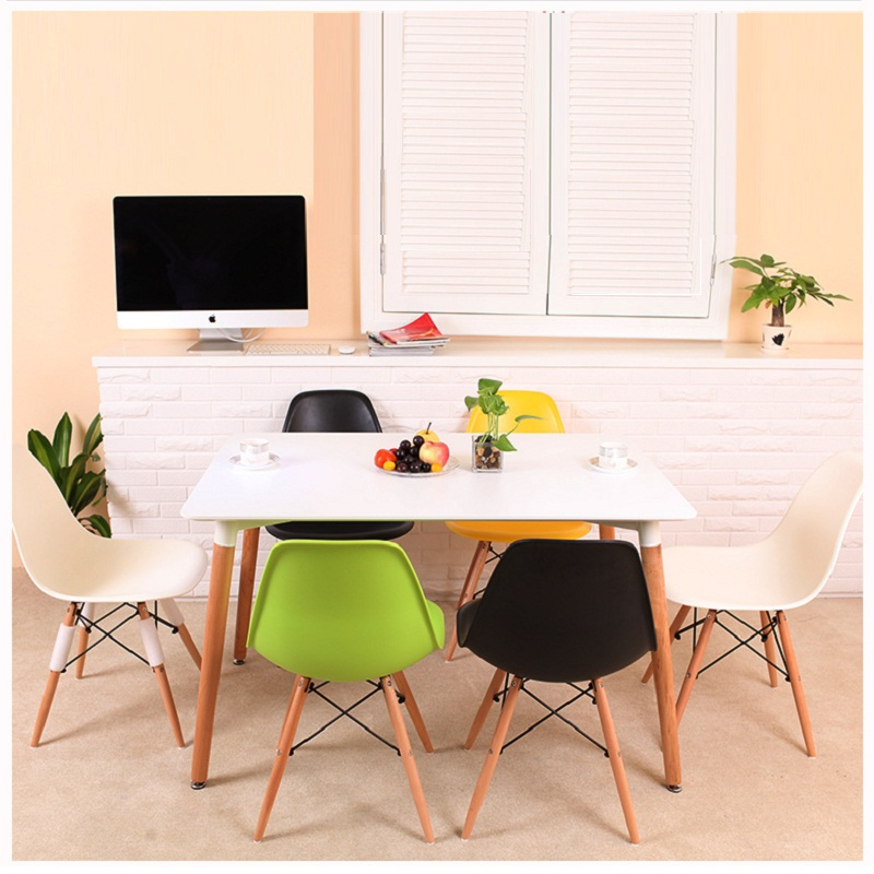 U-BEST Wooden Nordic style dining table,modern simple solid wood dining table and chairs mid century modern round table dining table wood leg and top white natural finish dining room furniture dining table wooden