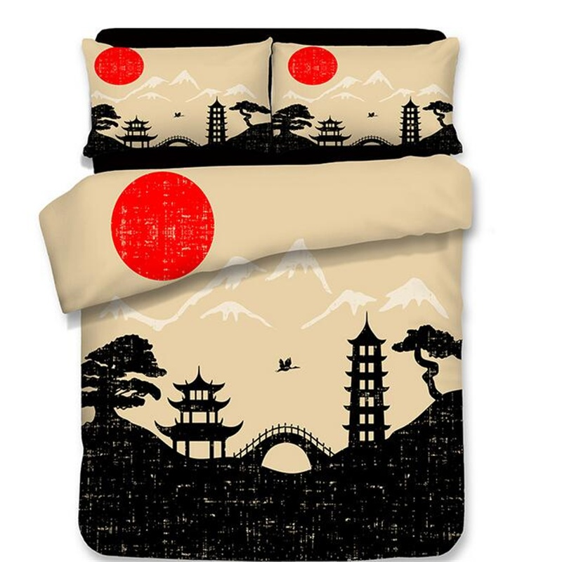 Japanese Style Print Bedding Set Twin Queen King Size Polyester Fabric Bedsheets Duvet Cover With Pillowcase