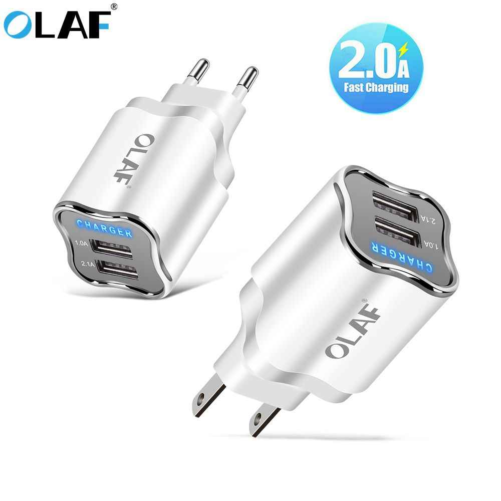 Olaf LED 5V2A USB Charger Uni Eropa US Adaptor Cepat Dinding Travel Charger Pengisian untuk Samsung S7 Xiaomi Redmi Huawei Micro USB CABLE 1 M