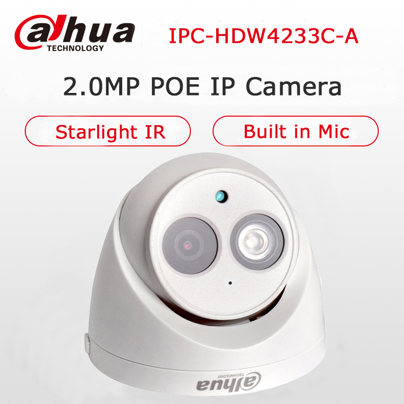 Dahua Starlight IP Camera DH-IPC-HDW4233C-A Built-in Mic 2MP IR 50M Network IP Camera Security Digital Dome Camera POE Onvif Cam ...
