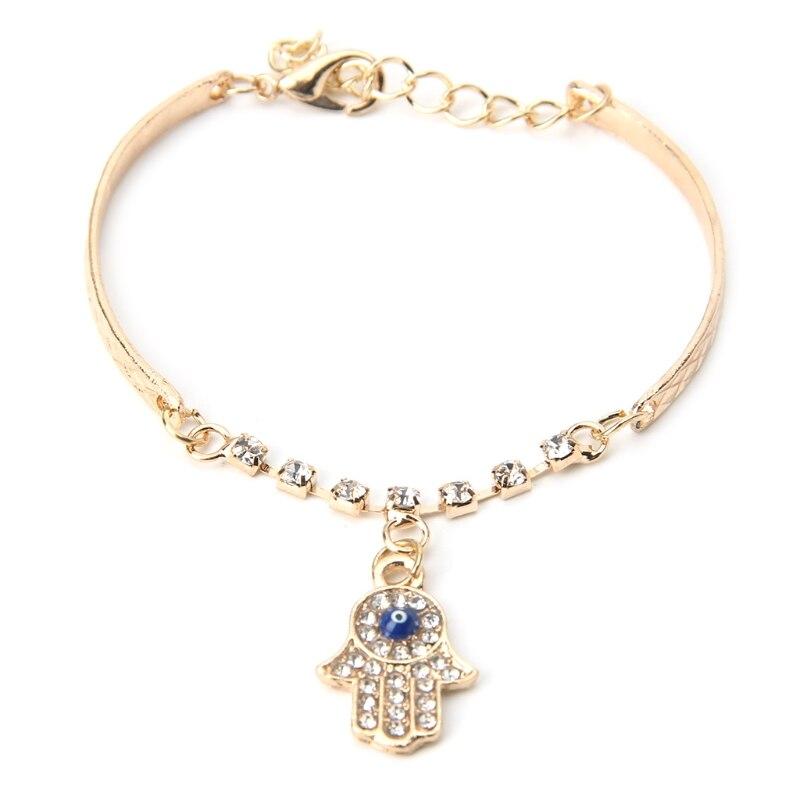 Lucky Fatima Hand Bracelet Chain Hamsa Evil Eye Rhinestone Bangle